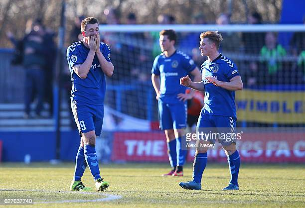 Niall Cummins of Curzon Ashton reacts as Tom Elliott of AFC Wimbledon scores their fourth goal during the Emirates FA Cup second round match between...