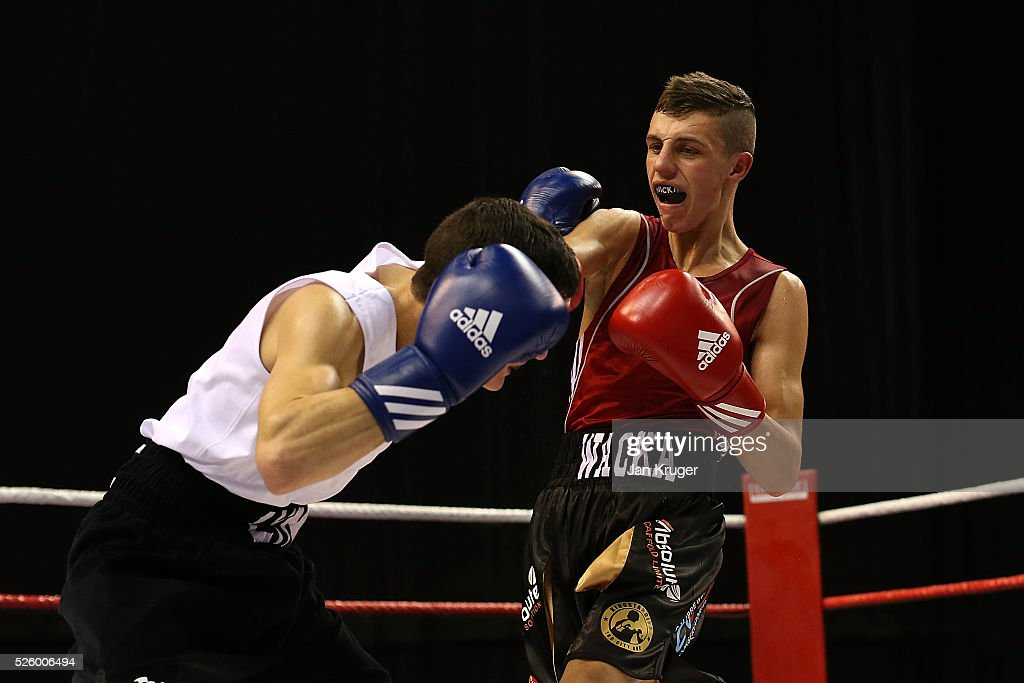 Niall Farrell(red) in action against Louie Lynn in their 52kg fight during day one of the Boxing Elite National Championships at Echo Arena on April 29, 2016 in Liverpool, England.