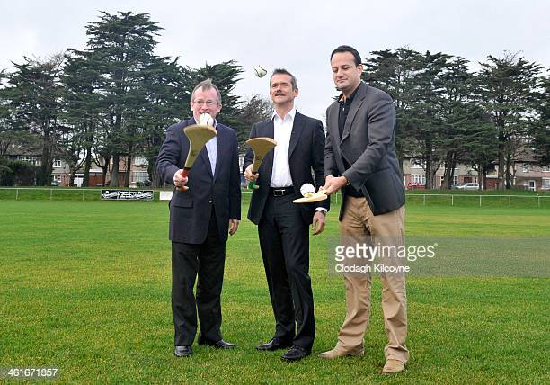Niall Gibbons Tourism Ireland CEO Astronaut Chris Hadfield and Leo Varadkar Minister for Transport Tourism and Sport learn the Irish national sport...