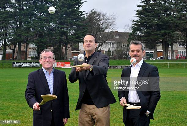 Niall Gibbons Tourism Ireland CEO Leo Varadkar Minister for Transport Tourism and Sport and Astronaut Chris Hadfield learn the Irish national sport...