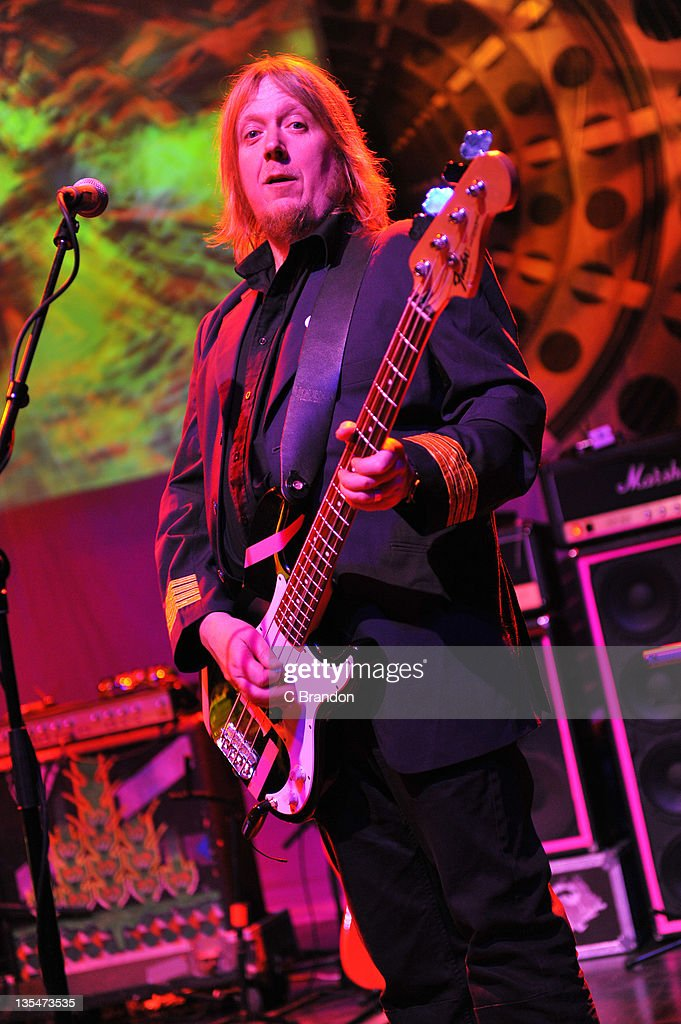 Niall Hone of Hawkwind performs on stage at Shepherds Bush Empire on December 10, 2011 in London, England.