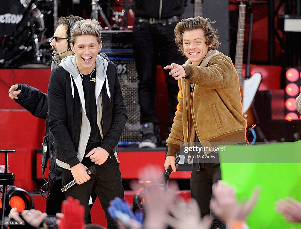 Niall Horan and Harry Styles of One Direction perform at Rumsey Playfield on November 26, 2013 in New York City.