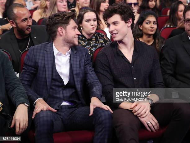 Niall Horan and Shawn Mendes during the 2017 American Music Awards at Microsoft Theater on November 19 2017 in Los Angeles California