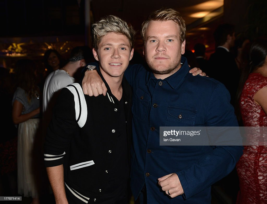 <a gi-track='captionPersonalityLinkClicked' href=/galleries/search?phrase=Niall+Horan&family=editorial&specificpeople=7229827 ng-click='$event.stopPropagation()'>Niall Horan</a> from One Direction and <a gi-track='captionPersonalityLinkClicked' href=/galleries/search?phrase=James+Corden&family=editorial&specificpeople=673860 ng-click='$event.stopPropagation()'>James Corden</a> attend the 'One Direction This Is Us' world premiere after party on August 20, 2013 in London, England.