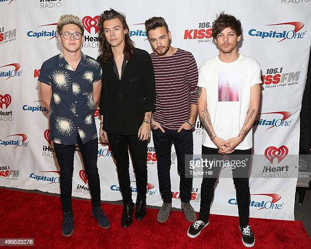 Niall Horan Harry Styles Liam Payne and Louis Tomlinson of One Direction attend 1061 KISS FM's Jingle Ball at American Airlines Center on December 1...