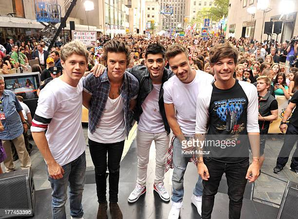 Niall Horan Harry Styles Zayn Malik Liam Payne and Louis Tomlinson of One Direction perform on NBC's 'Today' at Rockefeller Center on August 23 2013...