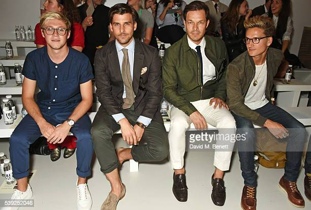 Niall Horan Johannes Huebl Paul Sculfor and Oliver Proudlock attend the Oliver Spencer show during The London Collections Men SS17 at the BFC Show...