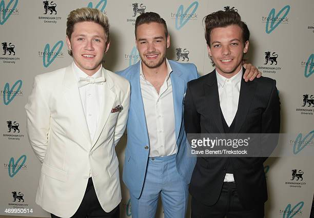 Niall Horan Liam Payne and Louis Tomlinson attend The Great Gatsby Ball in support of Trekstock at Bloomsbury Ballroom on April 16 2015 in London...