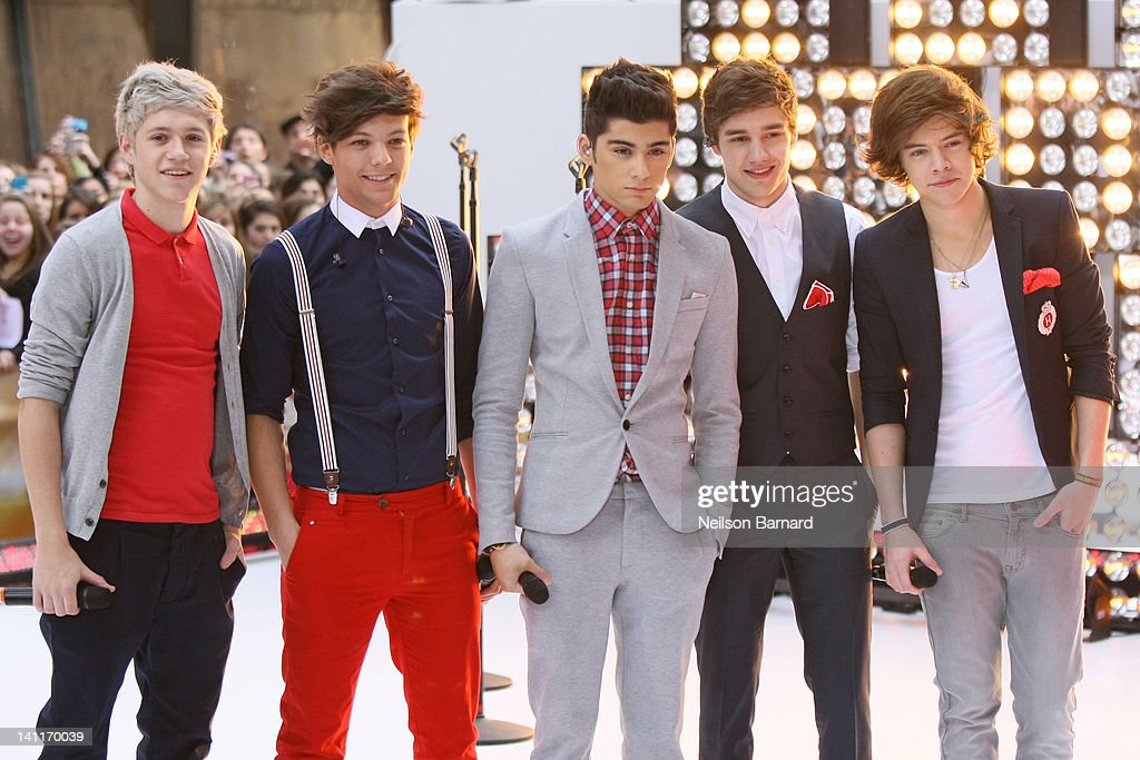 Niall Horan, Louis Tomlinson, Zayn Malik, Liam Payne and Harry Styles of the band One Direction perform on NBC's 'Today' show at Rockefeller Plaza on March 12, 2012 in New York City.