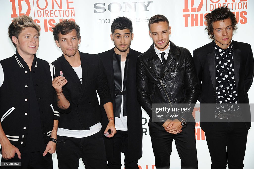 Niall Horan, Louis Tomlinson, Zayn Malik, Liam Payne and Harry Styles of One Direction attend the world premiere of 'One Direction - This Is Us' at The Empire Leicester Square on August 20, 2013 in London, England.
