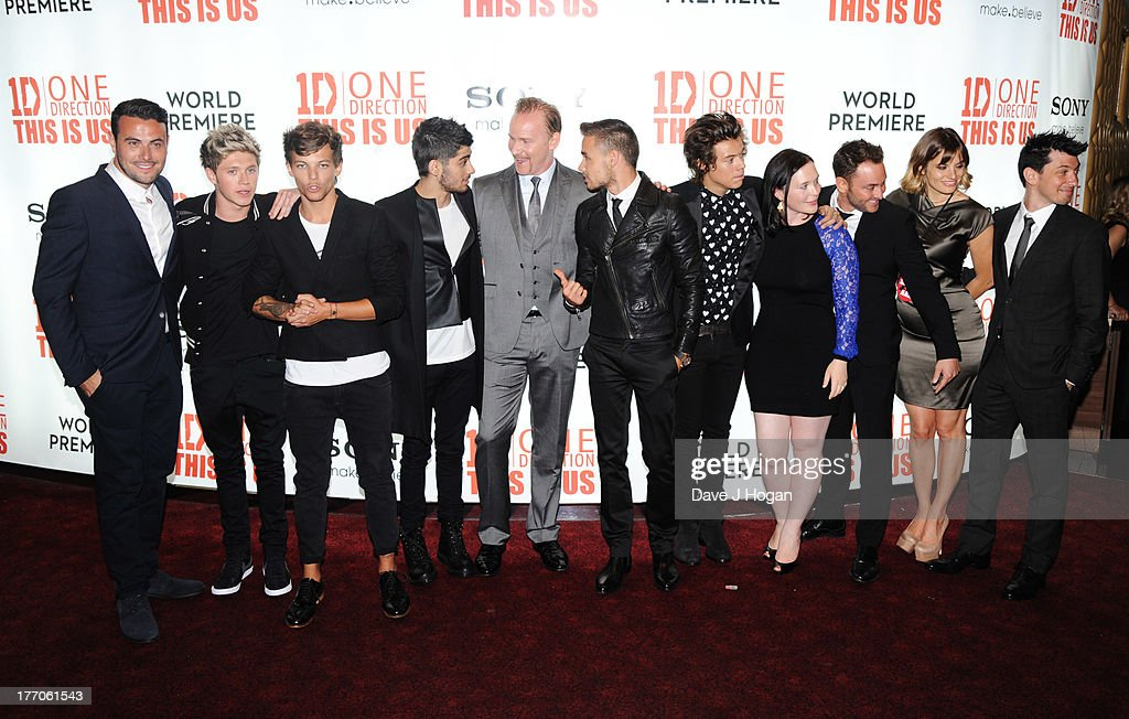 Niall Horan, Louis Tomlinson, Zayn Malik, Liam Payne and Harry Styles of One Direction, Simon Cowell and cast and crew attend the world premiere of 'One Direction - This Is Us' at The Empire Leicester Square on August 20, 2013 in London, England.