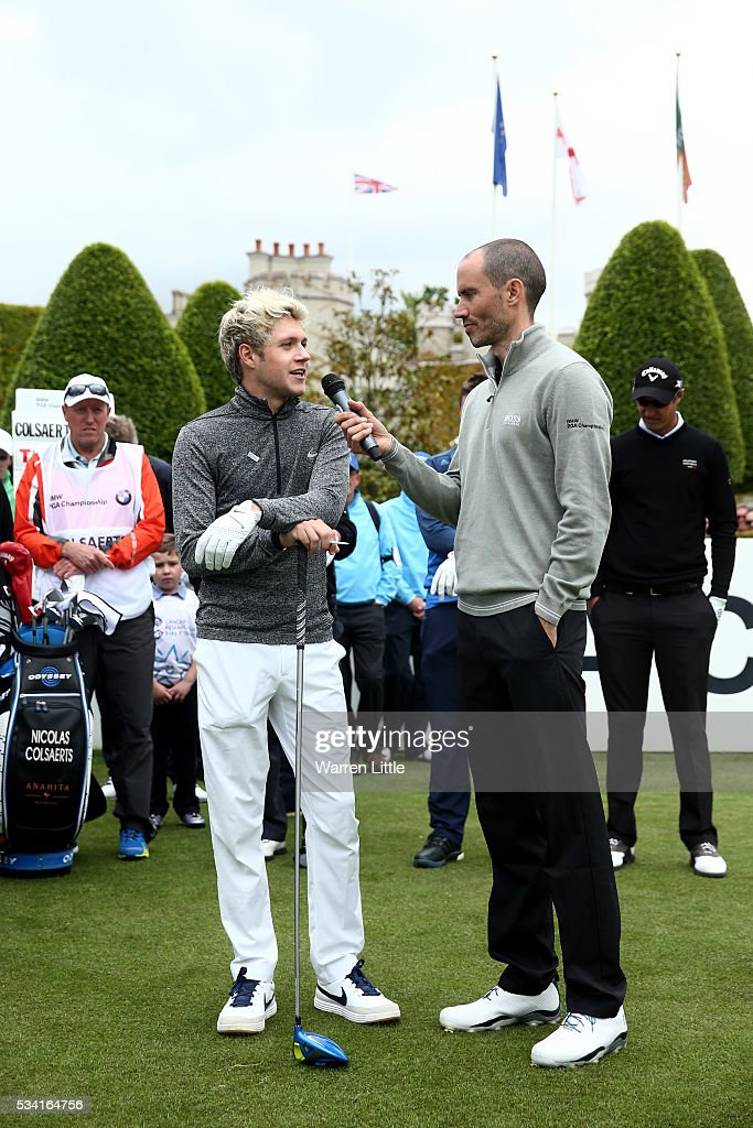 Niall Horan of One Direction is interviewed by Andrew Cotter during the Pro-Am prior to the BMW PGA Championship at Wentworth on May 25, 2016 in Virginia Water, England.