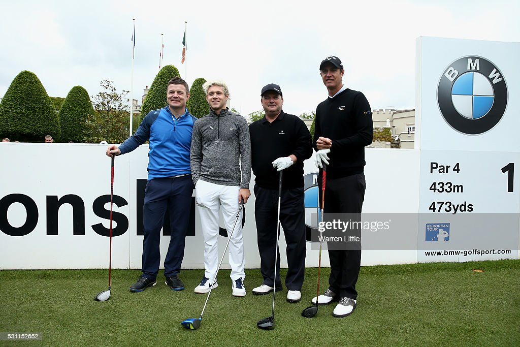 Niall Horan of One Direction, Nicolas Colsaerts of Belgium, Brian O'Driscoll and Peter Swann look on during the Pro-Am prior to the BMW PGA Championship at Wentworth on May 25, 2016 in Virginia Water, England.
