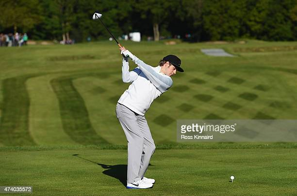 Niall Horan of One Direction tees off on the 1st hole during the ProAm ahead of the BMW PGA Championship at Wentworth on May 20 2015 in Virginia...