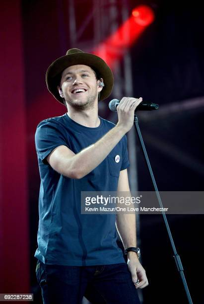 Niall Horan performs on stage during the One Love Manchester Benefit Concert at Old Trafford Cricket Ground on June 4 2017 in Manchester England