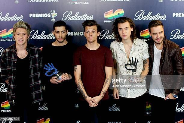 Niall Horan Zayn Malik Louis Tomlinson Harry Styles and Liam Payne of One Direction receive their awards at '40 Principales Awards 2014' at Palacio...