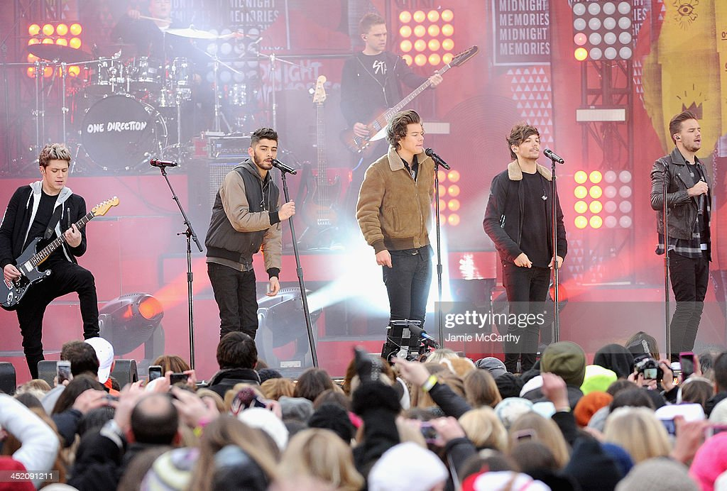 Niall Horan,Liam Payne, Harry Styles, Louis Tomlinson and Zayn Malik of One Direction perform at Rumsey Playfield on November 26, 2013 in New York City.