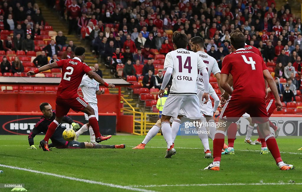 Niall McGinn of Aberdeen's shot heads goal ward after initially being ruled offside ethe goal was given during the UEFA Europa League First...