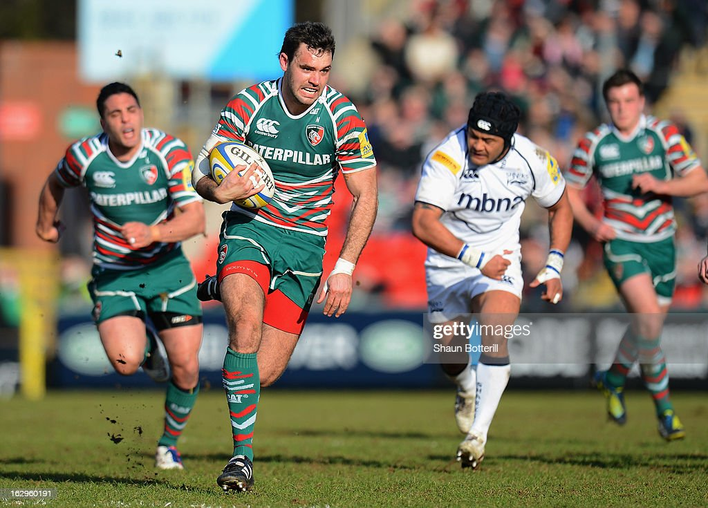 Niall Morris of Leicester Tigers breaks forward during the Aviva Premiership match between Leicester Tigers and Sale Sharks at Welford Road on March 2, 2013 in Leicester, England.