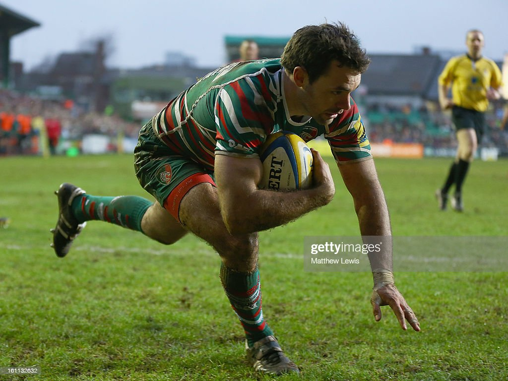 Niall Morris of Leicester Tigers scores a try during the Aviva Premiership match between Leicester Tigers and London Welsh at Welford Road on February 9, 2013 in Leicester, England.