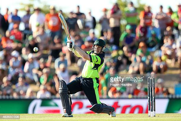 Niall O'Brien of Ireland bats during the 2015 ICC Cricket World Cup match between the West Indies and Ireland at Saxton Field on February 16 2015 in...
