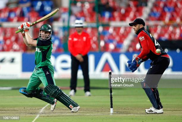Niall O'Brien of Ireland batting against England with wicketkeeper Matt Prior looking on in the Group B 2011 ICC World Cup match between England and...