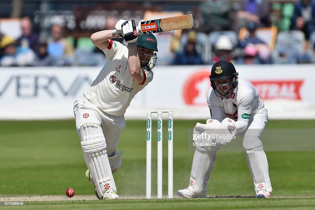 <a gi-track='captionPersonalityLinkClicked' href=/galleries/search?phrase=Niall+O%27Brien+-+Cricketer&family=editorial&specificpeople=7528561 ng-click='$event.stopPropagation()'>Niall O'Brien</a> of Leicestershire hits out during the Specsavers County Championship Division Two match between Sussex and Leicestershire on May 03, 2016 in Hove, England.