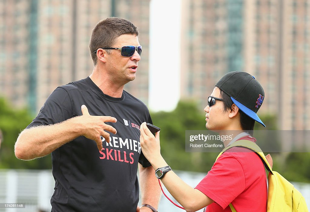 Niall Quinn is interviewed during the Premier Skills and Creating Chances open day on July 23, 2013 in Hong Kong, Hong Kong.