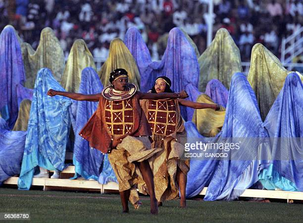 Dancers perform at the opening ceremony of the Jeux de la Francophonie at Seny Kountche stadium in Niamey 07 December 2005 AFP PHOTO ISSOUF SANOGO...
