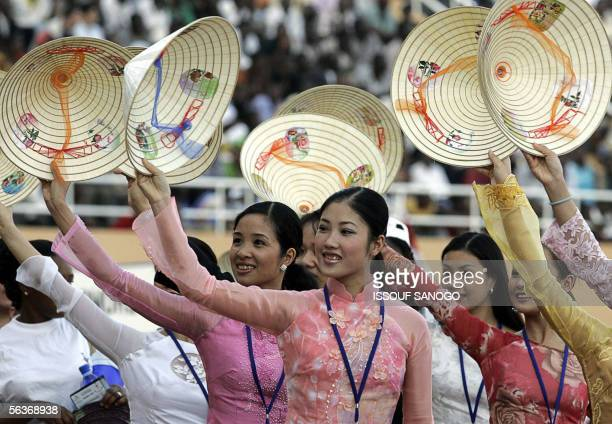 Vietnamese athletes parade at the opening ceremony of the Jeux de la Francophonie at Seny Kountche stadium in Niamey 07 December 2005 AFP PHOTO ISSOUF