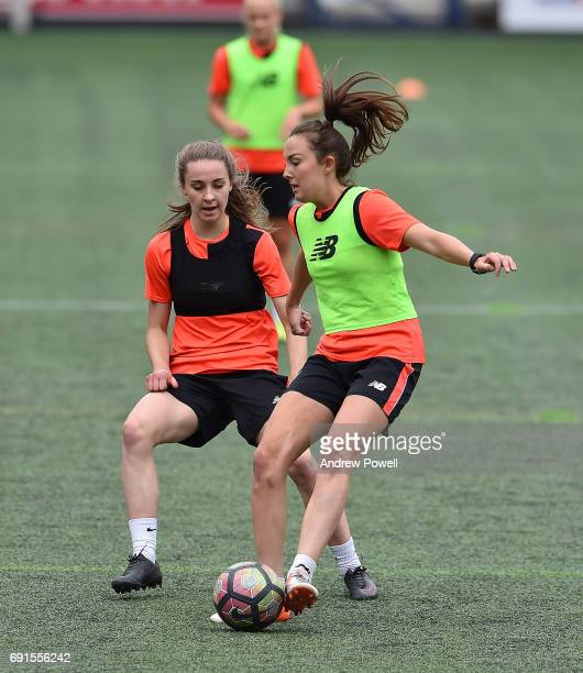 Niamh Charles and Caroline Weir of Liverpool Ladies during a training session at Select Security Stadium on June 2 2017 in Widnes England