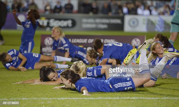 Niamh Fahey celebrates with winning the league title after the FA WSL match between Chelsea Ladies FC and Sunderland AFC Ladies on October 4 2015 in...