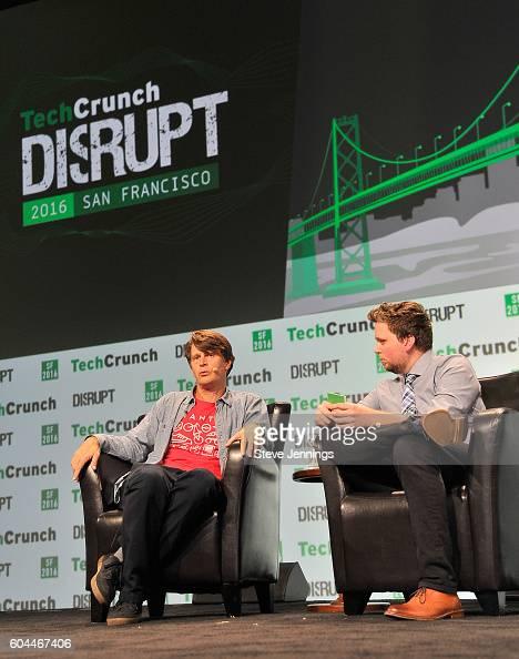 Niantic Labs John Hanke and moderator Greg Kumparak speak onstage during TechCrunch Disrupt SF 2016 at Pier 48 on September 13 2016 in San Francisco...