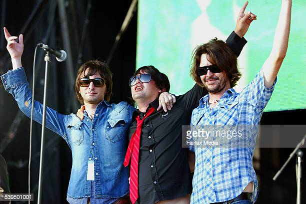 Nic Cester Jet Phil Jamieson Grinspoon and Bernard Fanning Powderfinger after playing for The Wrights performing the classic hit Evie at The Wave Aid...