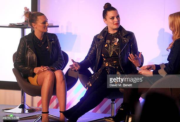 Nic Chapman and Sam Chapman from Pixiwoo on stage during day two of Stylist Magazine's first ever 'Stylist Live' event at the Business Design Centre...