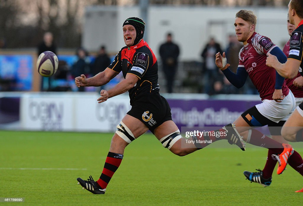 Nic Cudd of Newport Gwent Dragons during the European Rugby Challenge Cup match between Newcastle Falcons and Newport Gwent Dragons at Kingston Park...