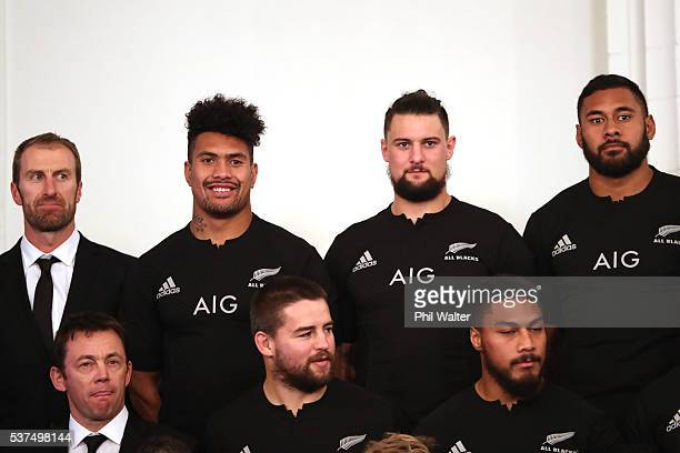 Nic Gill Ardie Savea Elliot Dixon and Patrick Tuipulotu of The All Blacks pose during the New Zealand All Blacks team photo session at The Heritage...