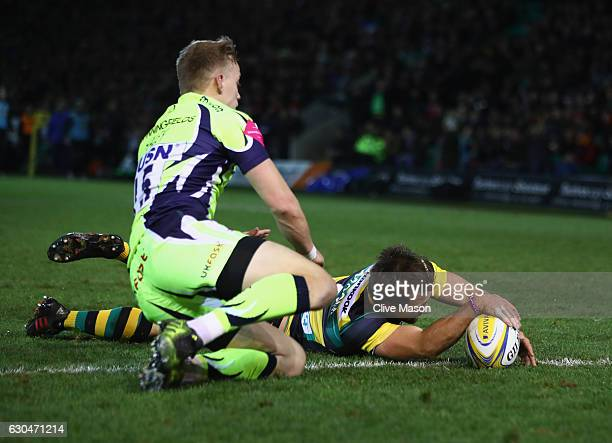 Nic Groom of Northampton Saints scores a try which was later disallowed during the Aviva Premiership match between Northampton Saints and Sale Sharks...