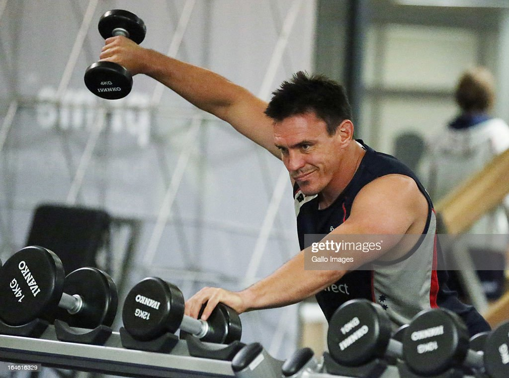 Nic Henderson during the Melbourne Rebels gym session at the Prime Human Performance Institute at Moses Mabhida Stadium on March 25, 2013 in Durban, South Africa.