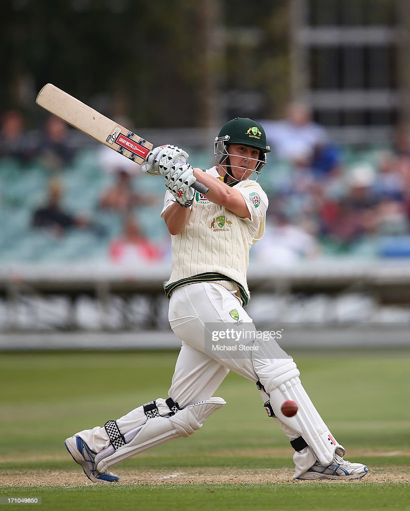 Nic Maddinson of Australia A hits to the legside during day one of the Gloucestershire versus Australia A tour match at The County Ground on June 21, 2013 in Bristol, England.