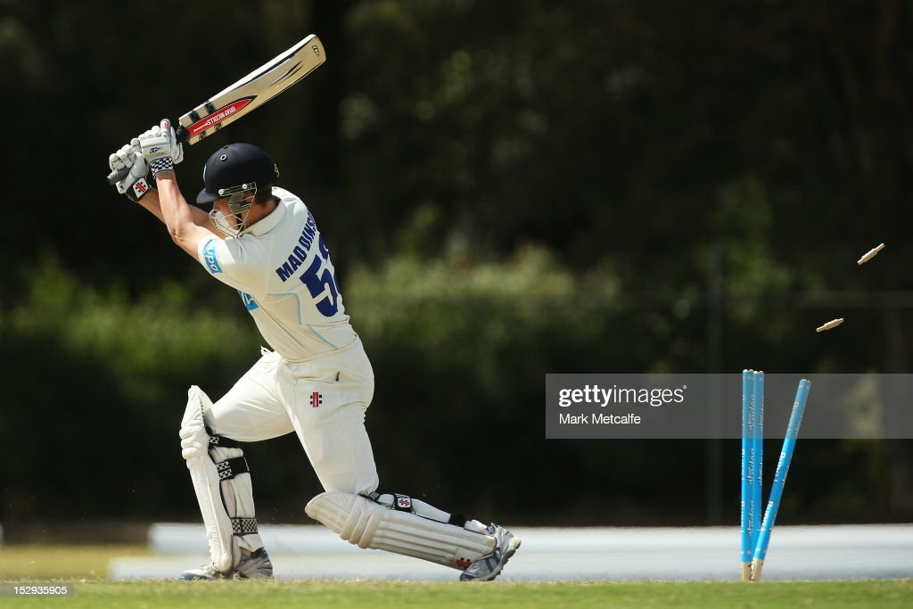 Nic Maddinson of New South Wales is clean bowled by Adam Maher of Tasmania during day four of the Sheffield Shield match between the New South Wales Blues and the Tasmanian Tigers at Bankstown Oval on September 29, 2012 in Sydney, Australia.