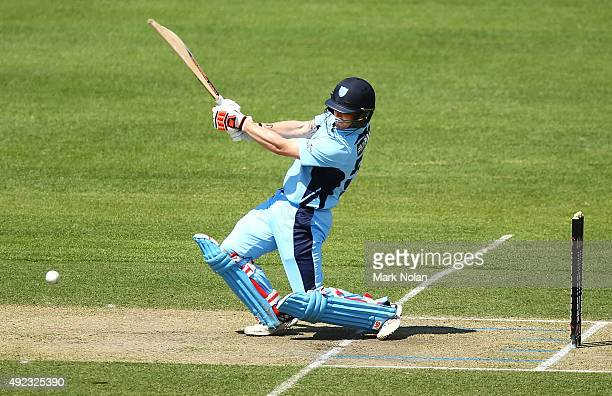 Nic Maddinson of the Blues bats during the Matador BBQs One Day Cup match between Tasmania and New South Wales at Hurstville Oval on October 12 2015...