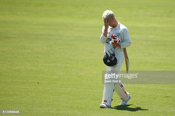 Nic Maddinson of the Blues looks dejected as he leaves the field after being dismissed during day two of the Sheffield Shield match between New South...