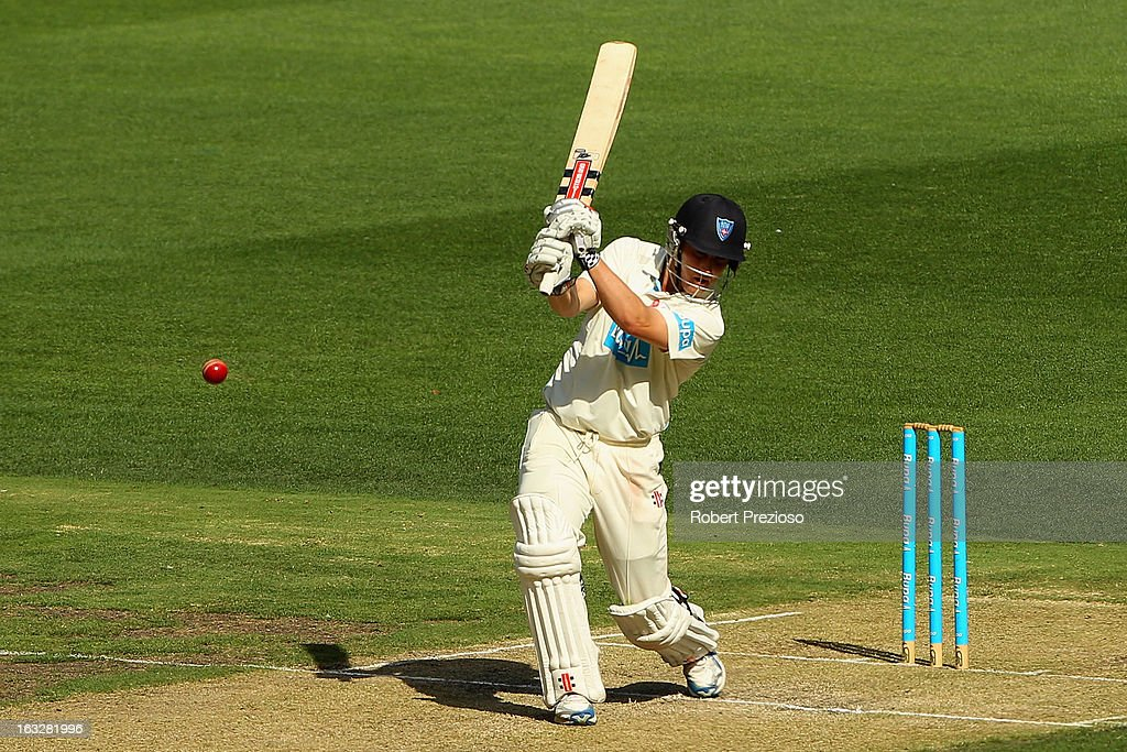 Nic Maddinson of the Blues plays a shot during day one of the Sheffield Shield match between the Victorian Bushrangers and the New South Wales Blues at Melbourne Cricket Ground on March 7, 2013 in Melbourne, Australia.