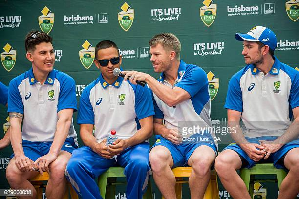 R Nic Maddinson Usman Khawaja David Warner and Chad Sayers at the Commonwealth Bank Test Series Launch at Queen Street Mall on December 11 2016 in...