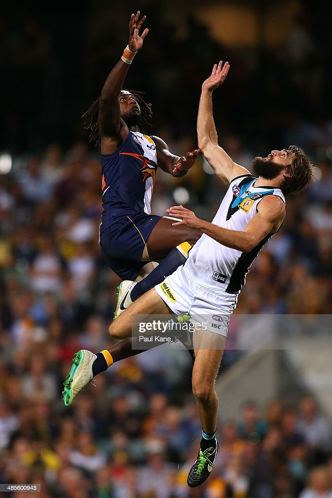 <a gi-track='captionPersonalityLinkClicked' href=/galleries/search?phrase=Nic+Naitanui&family=editorial&specificpeople=6577611 ng-click='$event.stopPropagation()'>Nic Naitanui</a> of the Eagles and Justin Westhoff of the Power contest the ruck during the round five AFL match between the West Coast Eagles and the Port Power at Patersons Stadium on April 19, 2014 in Perth, Australia.