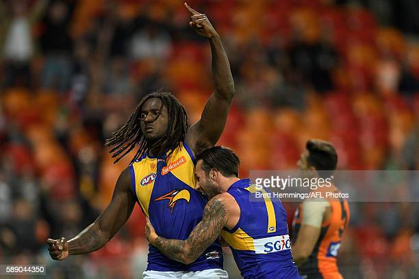 Nic Naitanui of the Eagles celebrates kicking the winning goal during the round 21 AFL match between the Greater Western Sydney Giants and the West...
