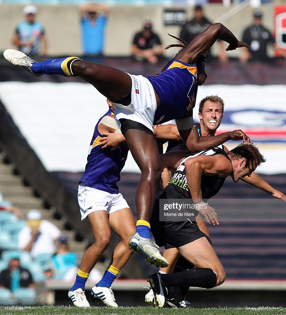 Nic Naitanui of the Eagles goes flying in the ruck during the round two AFL match between Port Adelaide Power and the West Coast Eagles at AAMI...