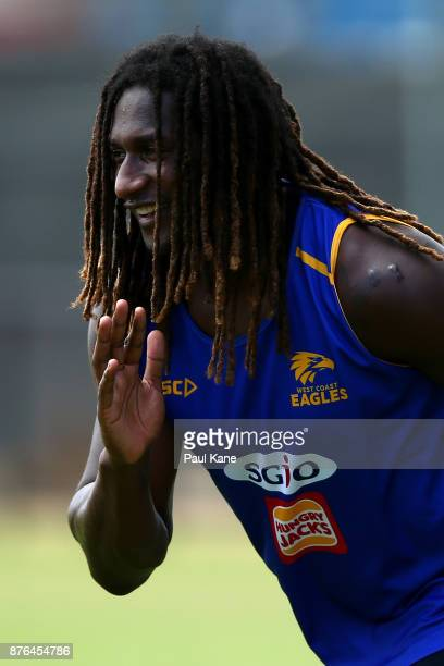 Nic Naitanui of the Eagles warms up during a West Coast Eagles AFL training session at Lathlain Park on November 20 2017 in Perth Australia