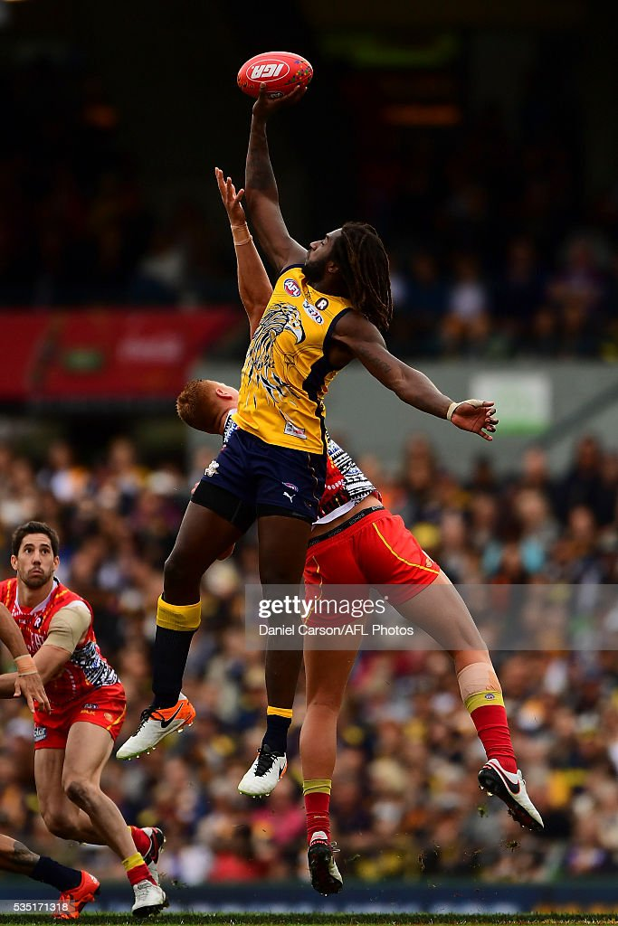 Nic Naitanui of the Eagles wins a ruck contest during the 2016 AFL Round 10 match between the West Coast Eagles and the Gold Coast Suns at Domain Stadium on May 29, 2016 in Perth, Australia.